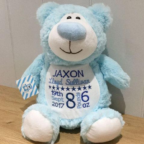 Personalised Soft Toy Animal Cubbie Bear - Blue